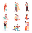 family embrace happy parents hugging smiling kids vector image vector image