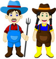 funny couple farmer cartoon holding rake vector image vector image