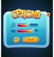 Game options select window for computer app vector image vector image