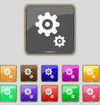 gears icon sign Set with eleven colored buttons vector image vector image