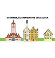 germany rothenburg ob der tauber city skyline vector image vector image