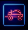 glowing neon wild west covered wagon icon isolated vector image vector image