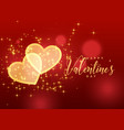 golden sparkles hearts on red background for vector image