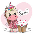 greeting card cute unicorn with cake vector image vector image