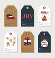 hand drawn christmas gift tags collection cute vector image