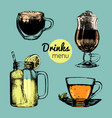 hand drawn lemonade coffee tea for vector image