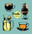 hand drawn lemonade coffee tea vector image