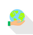 hand hold a globe icon flat style vector image vector image