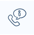 Handset with information sign sketch icon vector image vector image