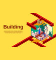 house building cross section vector image