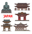 japanese temples pagodas kamakura architecture vector image vector image