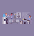 lunch break in police station vector image vector image