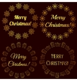 Merry Christmas stamps tags golden vector image