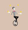 Mime performance - the juggler vector image vector image