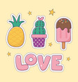 pineapple cactus ice cream patch fashion badge vector image