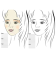 portrait of girl makeup sketch template vector image vector image