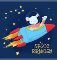 postcard poster cute astronaut mouse in space vector image