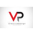 red and black vp v p letter logo design creative vector image vector image