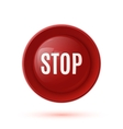 Red glossy stop button icon vector image vector image