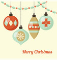 retro christmas card with hanging christmas balls vector image