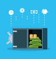safe heavy box with set icons economy finance vector image vector image
