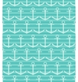 Seamless pattern with anchor on blue striped vector image