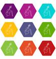 violin icons set 9 vector image vector image