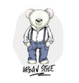 white teddy bear in trousers and shirt vector image