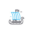 wooden sailer linear icon concept wooden sailer vector image vector image
