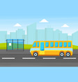 yellow city bus on a bus stop public urban vector image