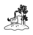 zebra cartoon in forest next to the trees in black vector image vector image