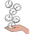 Busy person hand save time clocks vector image