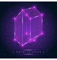 Abstract glowing geometric figure on starry vector image