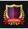 Golden Shield With Laurel Wreath And Red Ribbon vector image