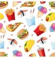 seamless pattern with fast food icon set vector image