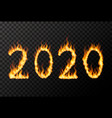 2020 year lettering made from bright fire flames vector image vector image