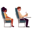 Airplane passengers - black african woman and man vector image vector image