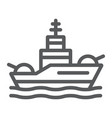 battleship line icon navy and army warship sign vector image vector image