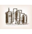 Beer brewing sketch vector image vector image