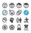 boy icon set vector image