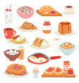 breakfast coffee and fried eggs with sweet vector image vector image