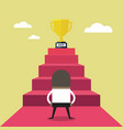 businessman standing in front of stair to trophy vector image vector image