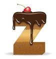Cake letter Z- birthday font vector image vector image