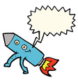 cartoon happy rocket with speech bubble vector image vector image