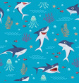 cartoon sharks pattern seamless background with vector image vector image