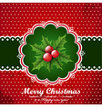 Christmas vintage background with holly berry vector image