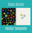 cover design with kaleidoscope stars vector image vector image