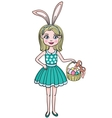 Cute girl wearing bunny ears on Easter day vector image