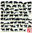 Dairy cattle silhouettes set vector | Price: 1 Credit (USD $1)