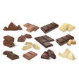 dark and milky chocolate pieces realistic 3d vector image vector image
